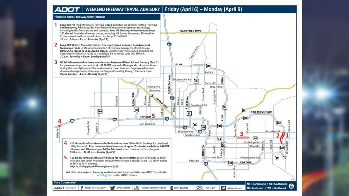 Traffic Map Phoenix Az.Adot S Weekend Freeway Travel Advisory April 6 9 Phoenix Traffic