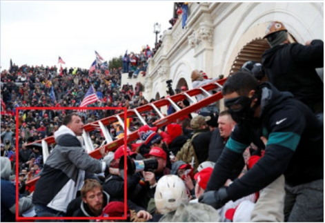 James McGrew seen on the steps of the U.S. Capitol on Jan. 6