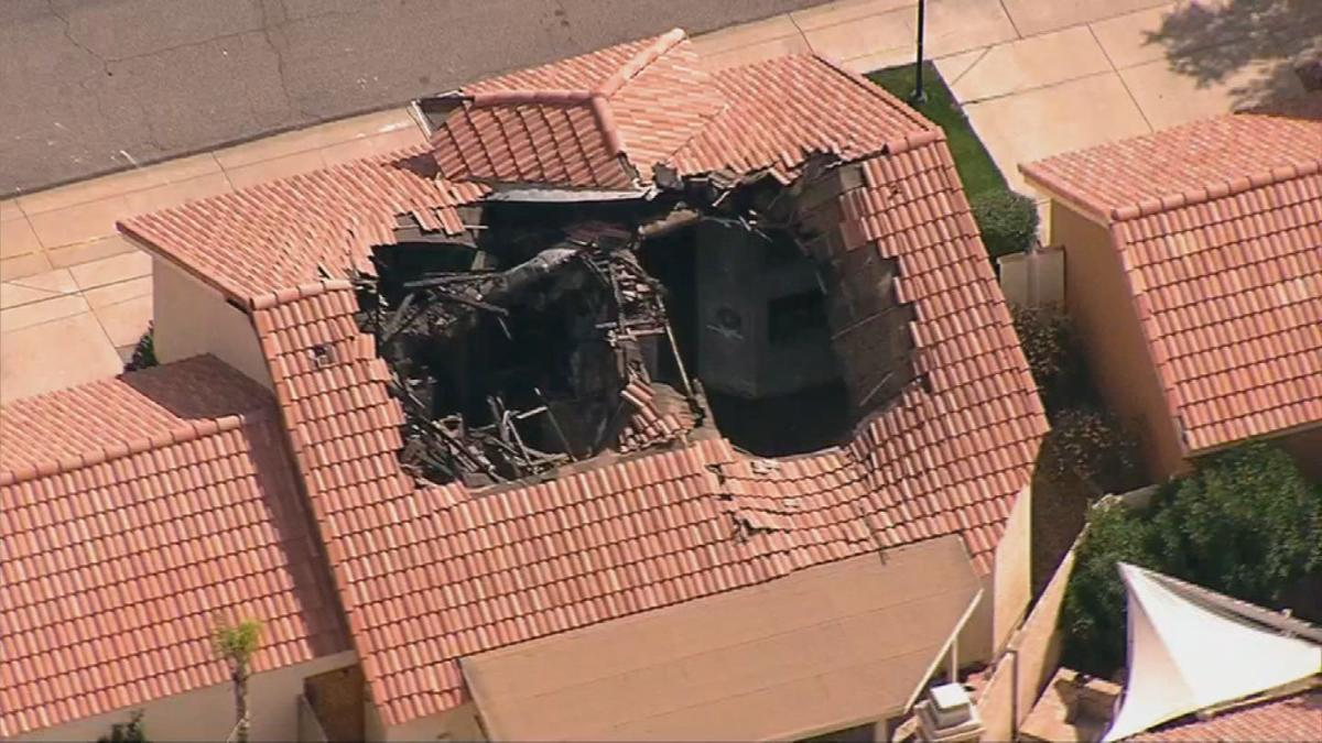 Our chopper view showed a huge, burned-out hole in the roof