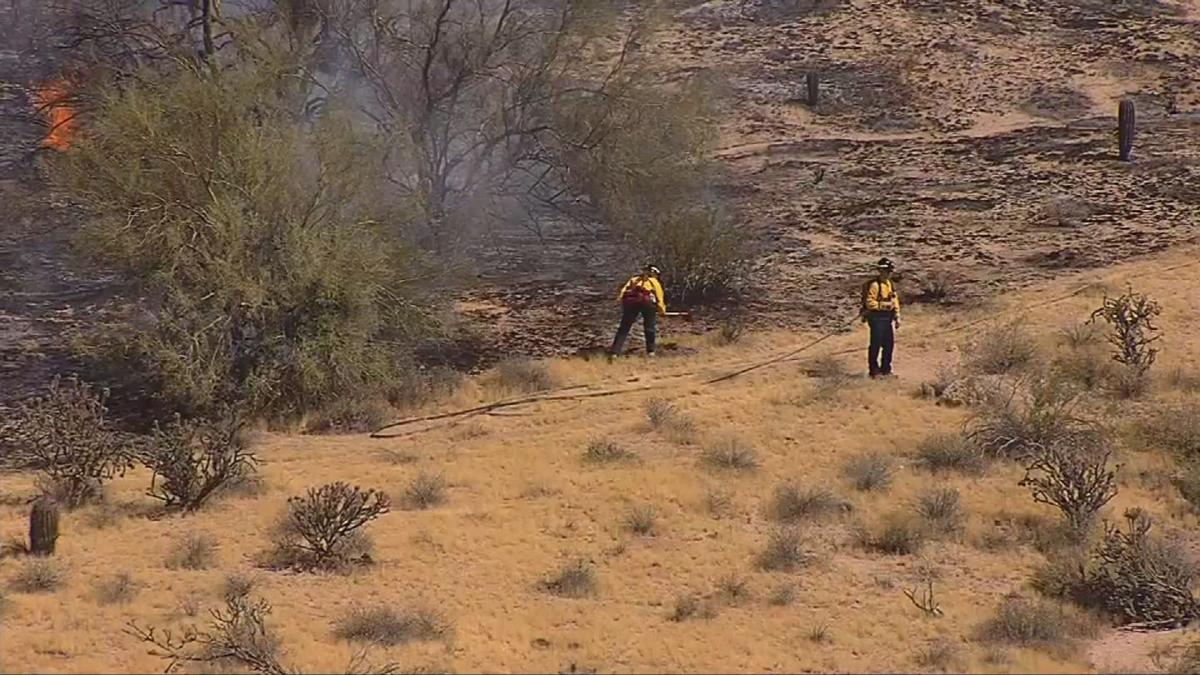The fire scorched a small area of dry brush before Scottsdale fire crews started getting a handle on it