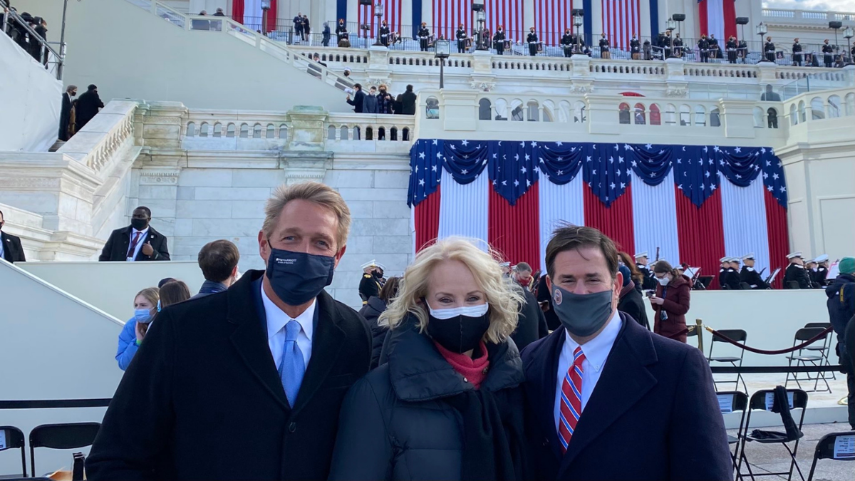 Gov. Ducey, Jeff Flake, Cindy McCain at Biden's inauguration