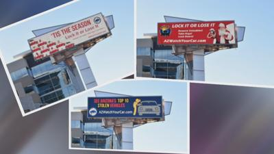 Billboards promoting AZ Auto Theft Authority campaign