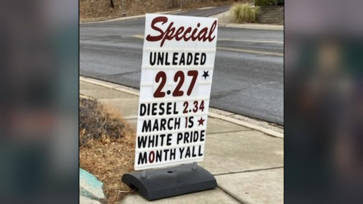 Controversial gas station sign