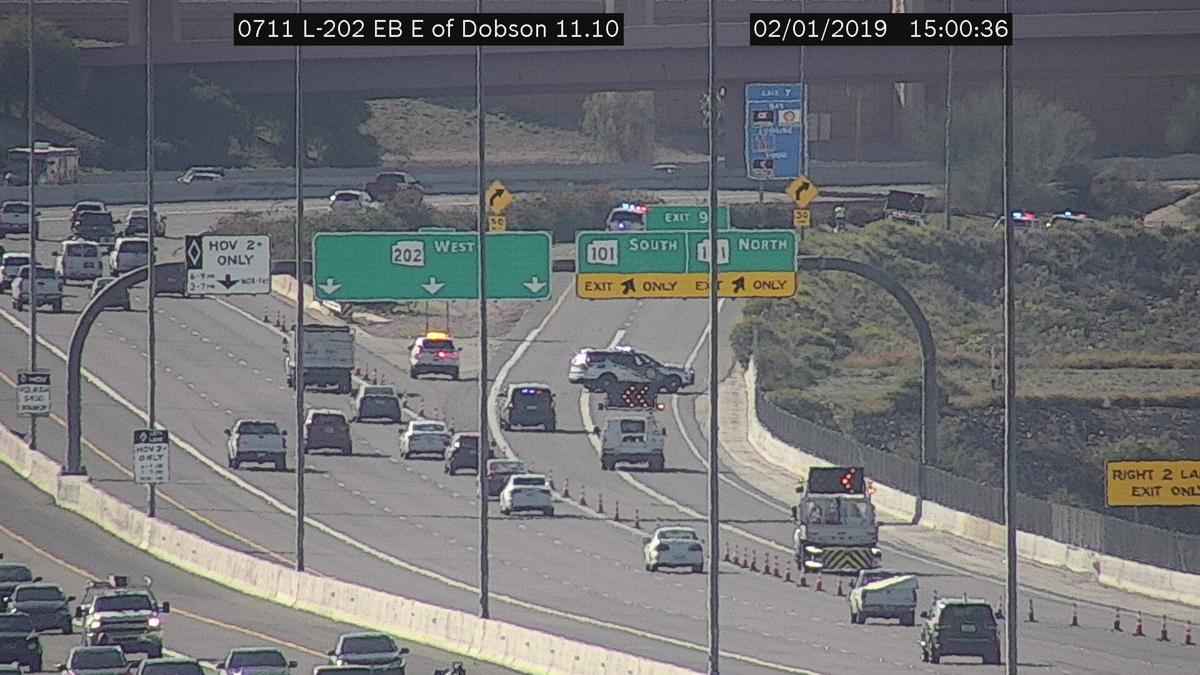 DPS officials are investigating an accident at the Loop 202 transition ramp