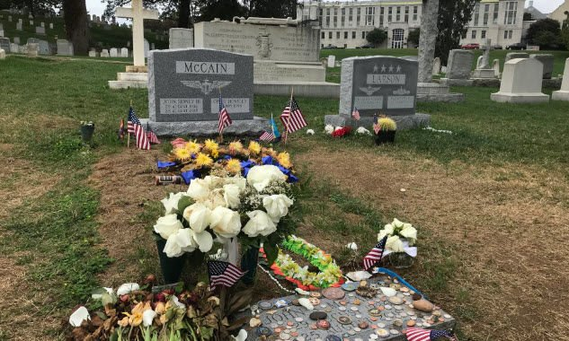 Headstone placed at Sen. John McCain's grave