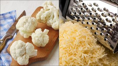Cauliflower and grated cheddar cheese