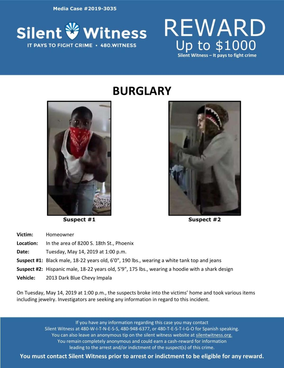 Silent Witness flyer for Phoenix home burglary on May 14, 2019
