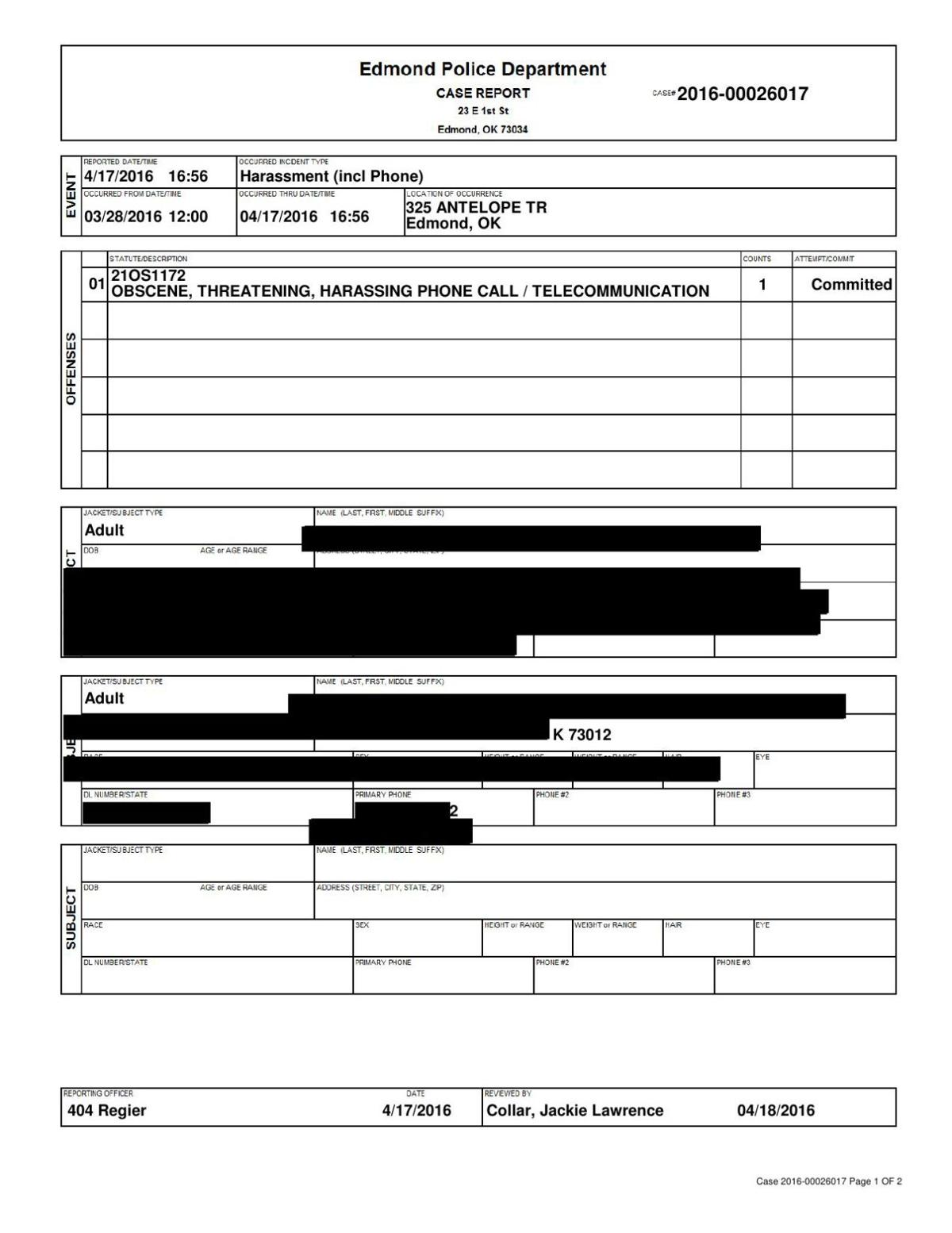 April 17, 2016 Oklahoma PD report on harassment claim