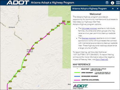 Highway Map Of Arizona.Interactive Map From Adot Shows Where You Can Adopt A Highway