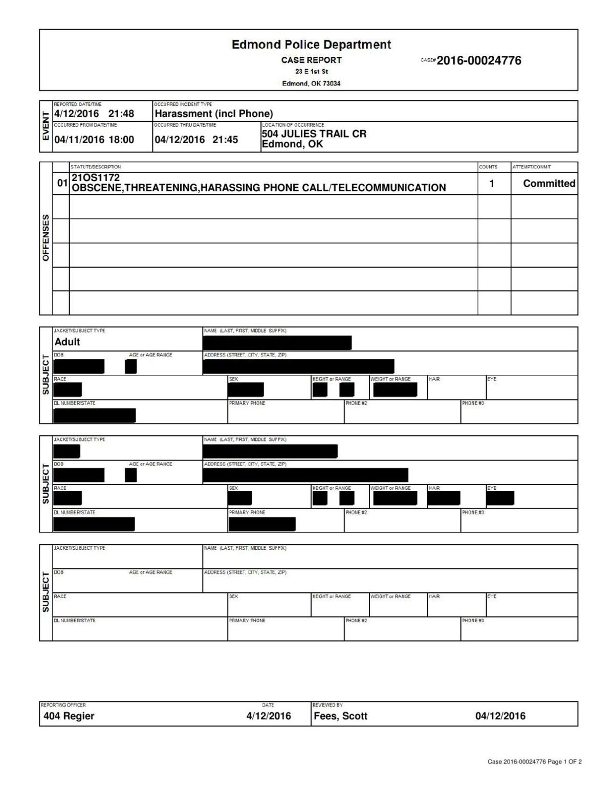 April 12, 2016 Oklahoma PD report on harassment claim