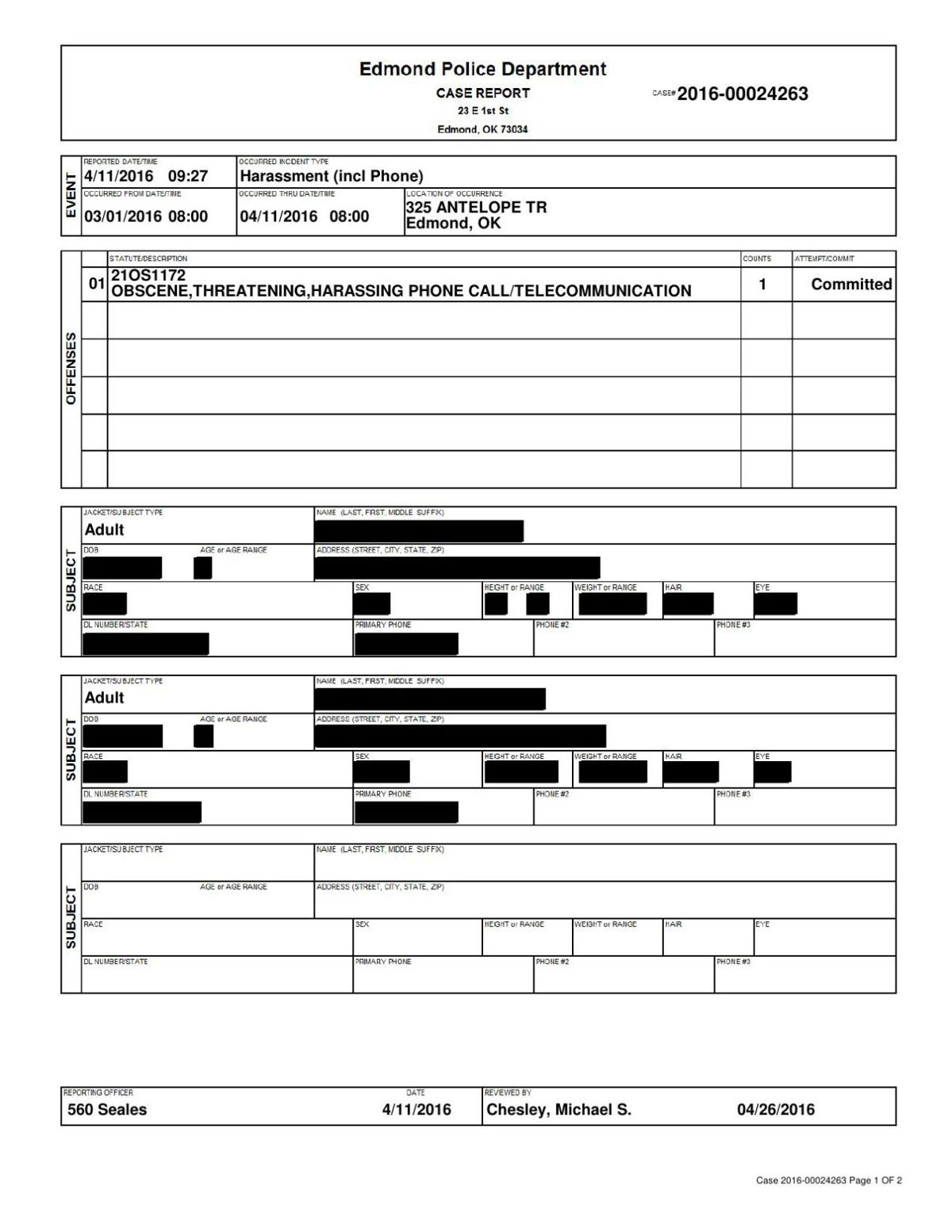 April 11, 2016 Oklahoma PD report on harassment claim