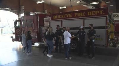 Meeting his rescuers in the Buckeye Fire Department