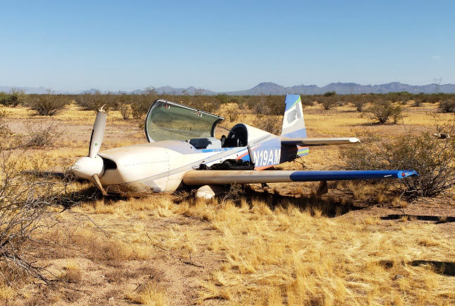 The plane went down about 3 miles east of Phoenix-Mesa Gateway Airport. (Photo source: Mesa Fire & Medical)