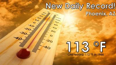 Just after 2 p.m., the National Weather Service said the temperature had reached a record 113 degrees.