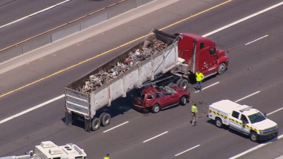 SUV crushed under semi truck in bad accident on U S  60