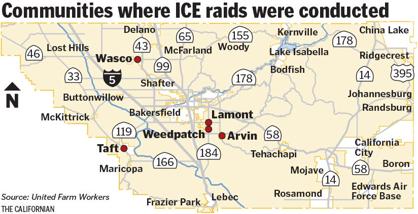 Immigration agents conducting operation in Kern County ...