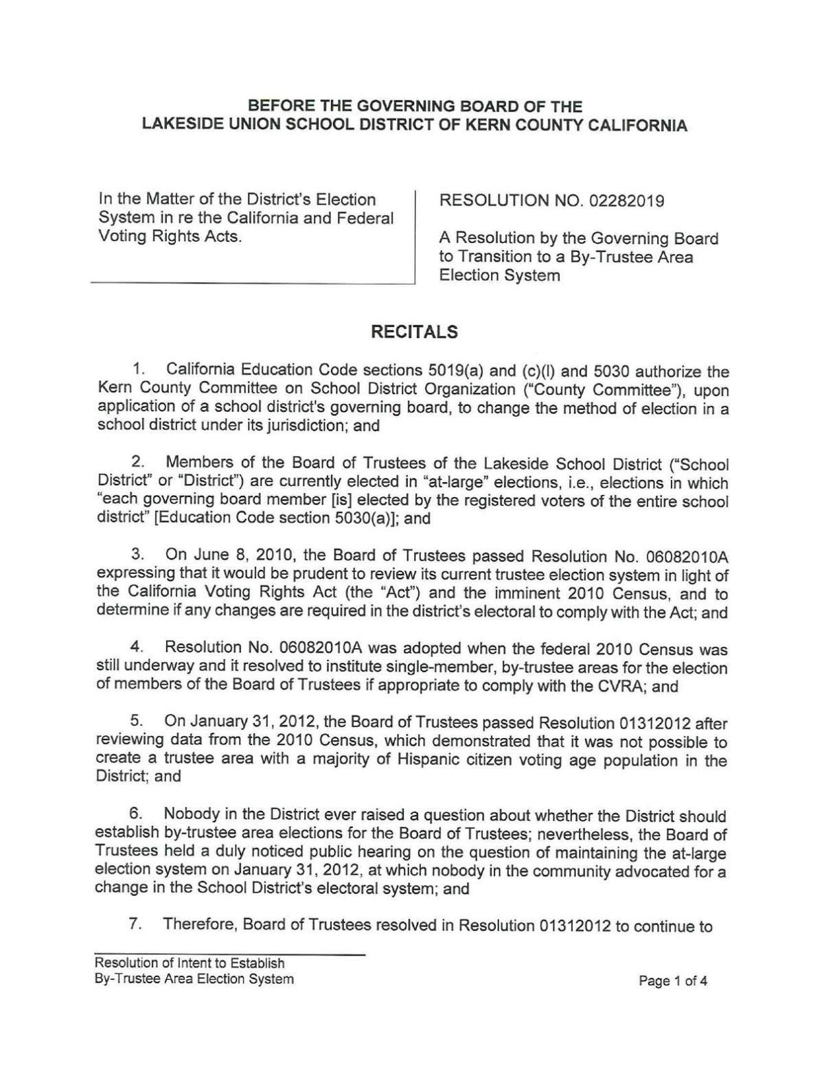 Resolution passed by Lakeside in February 2019