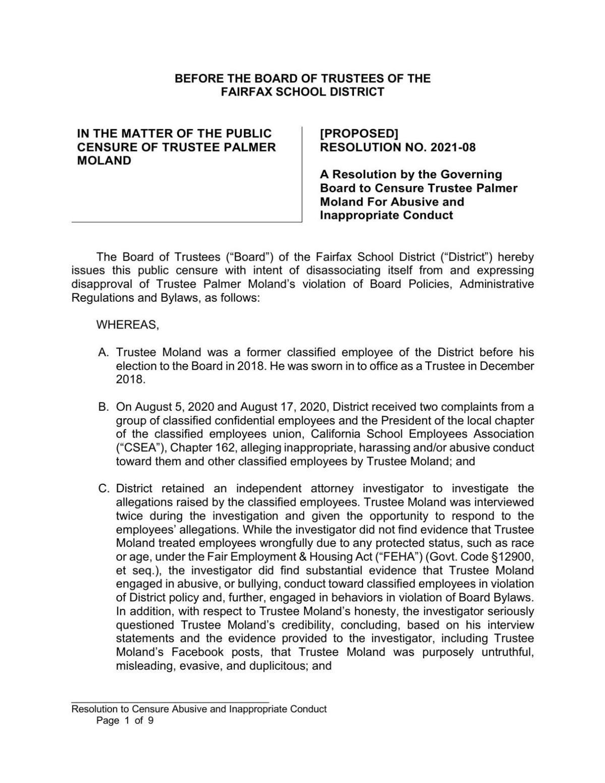 Fairfax School District resolution