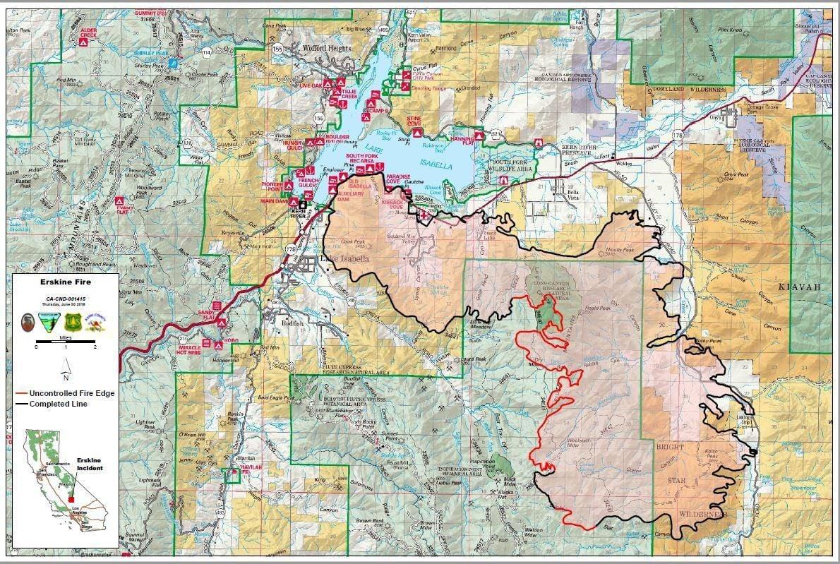 Lake Isabella Fire Map.Live Updates Erskine Fire June 30 Breaking Bakersfield Com