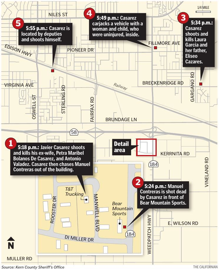 Map and timeline of mass shooting