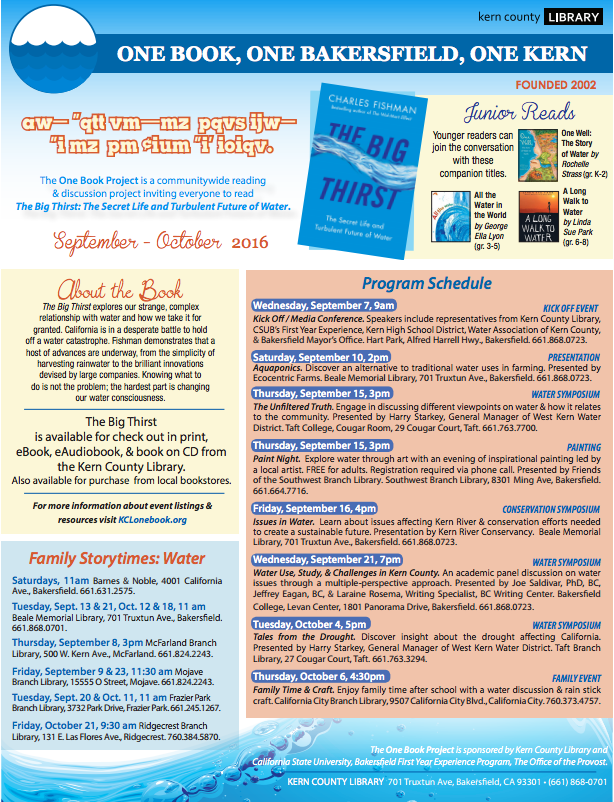 One Book, One Bakersfield, One Kern events 1