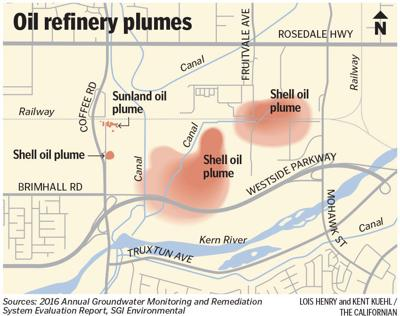 Oil refinery contamination plume