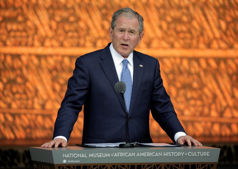 Former U.S. President George W. Bush speaks during the dedication of the Smithsonian's National Museum of African American History and Culture in Washington.