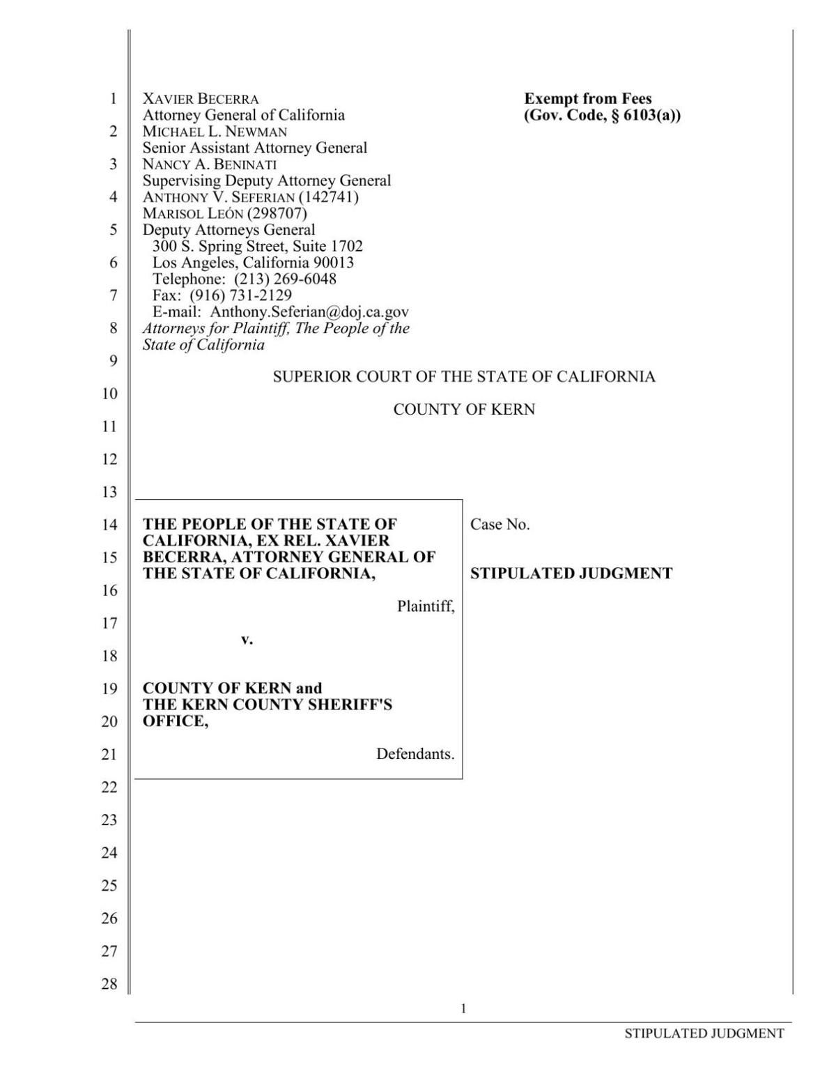 Settlement between Kern County Sheriff's Office and Department of Justice