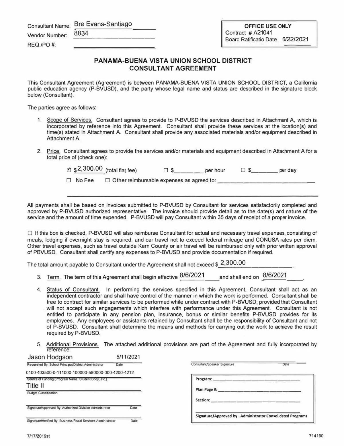 PBVUSD consultant agreement with Bre Evans-Santiago