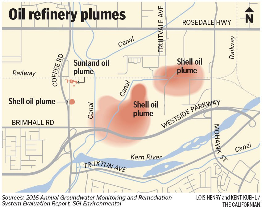 Oil refinery contamination plume