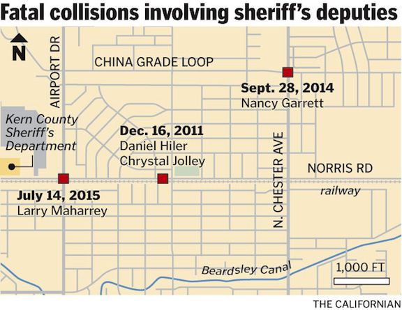 Fatal collisions involving sheriff's deputies map