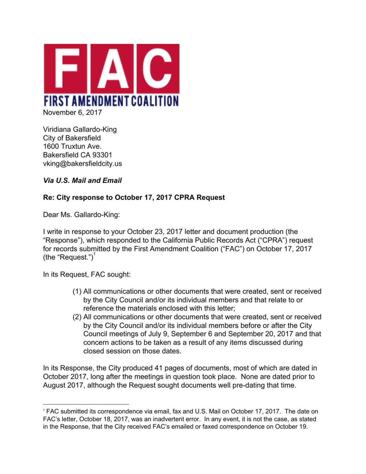 FAC follow-up letter