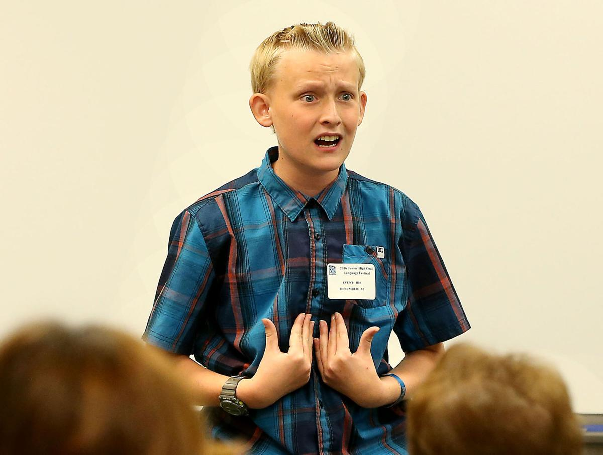 Mason Grahek, a Cato Middle School student, has a good time with his  Humorous Interpretation-solo competition Saturday during the Bakersfield  City School ...