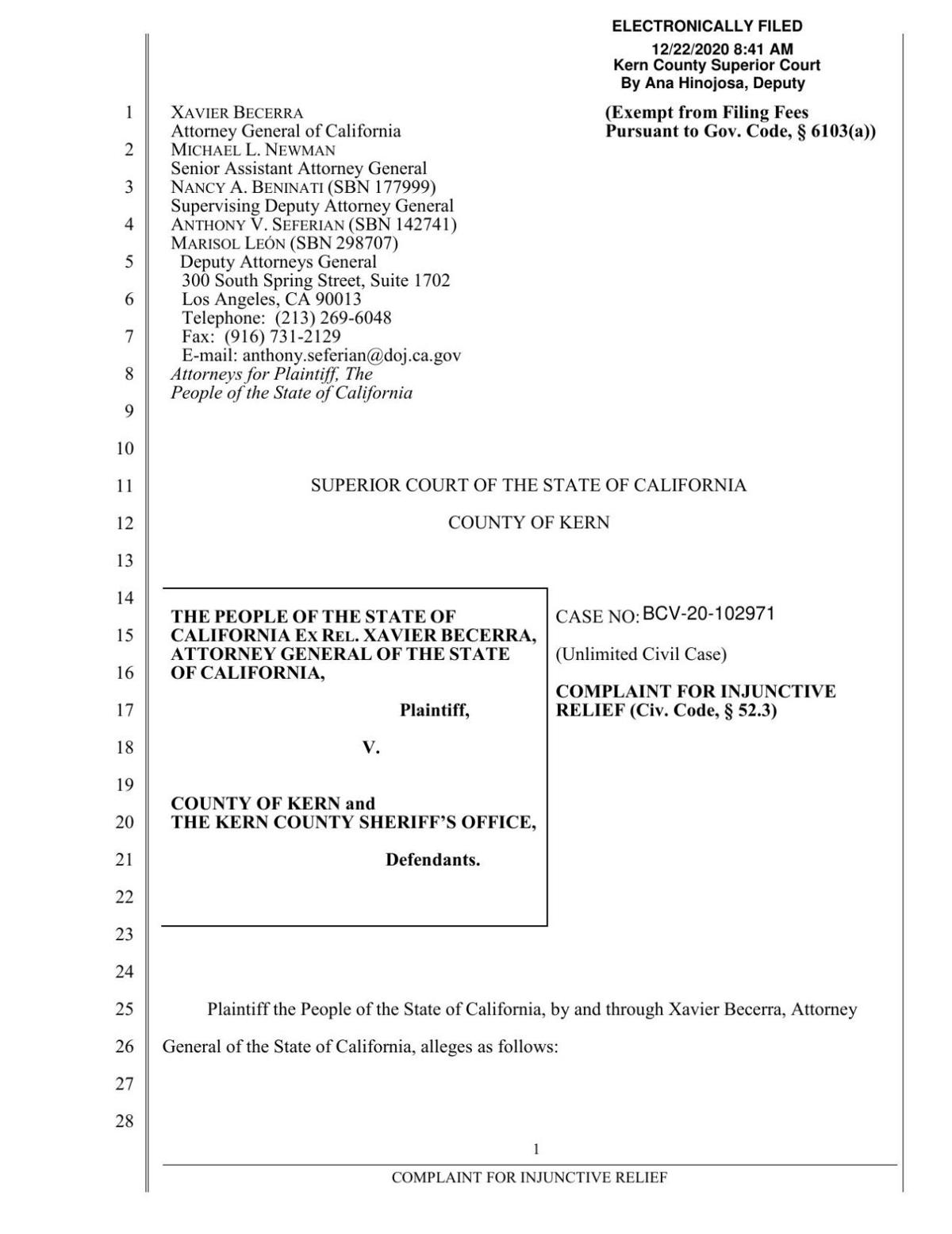 Department of Justice complaint