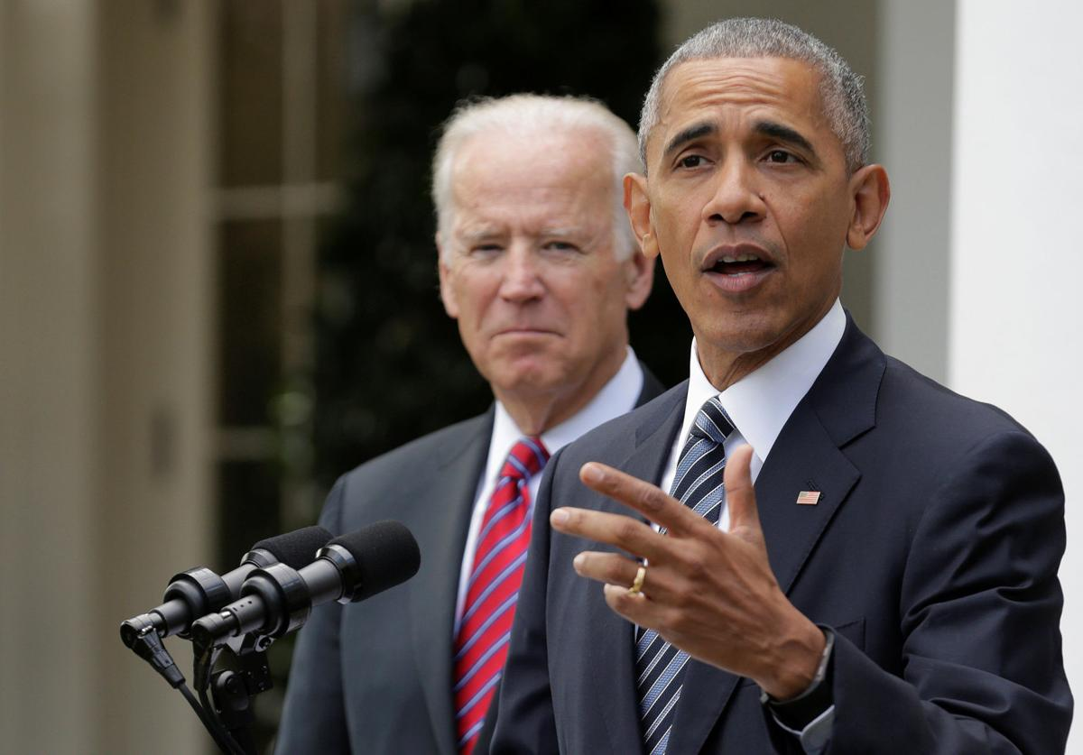 U.S. President Barack Obama and U.S. Vice President Joe Biden speak after the election of Donald Trump in the U.S. presidential election at the White House in Washington