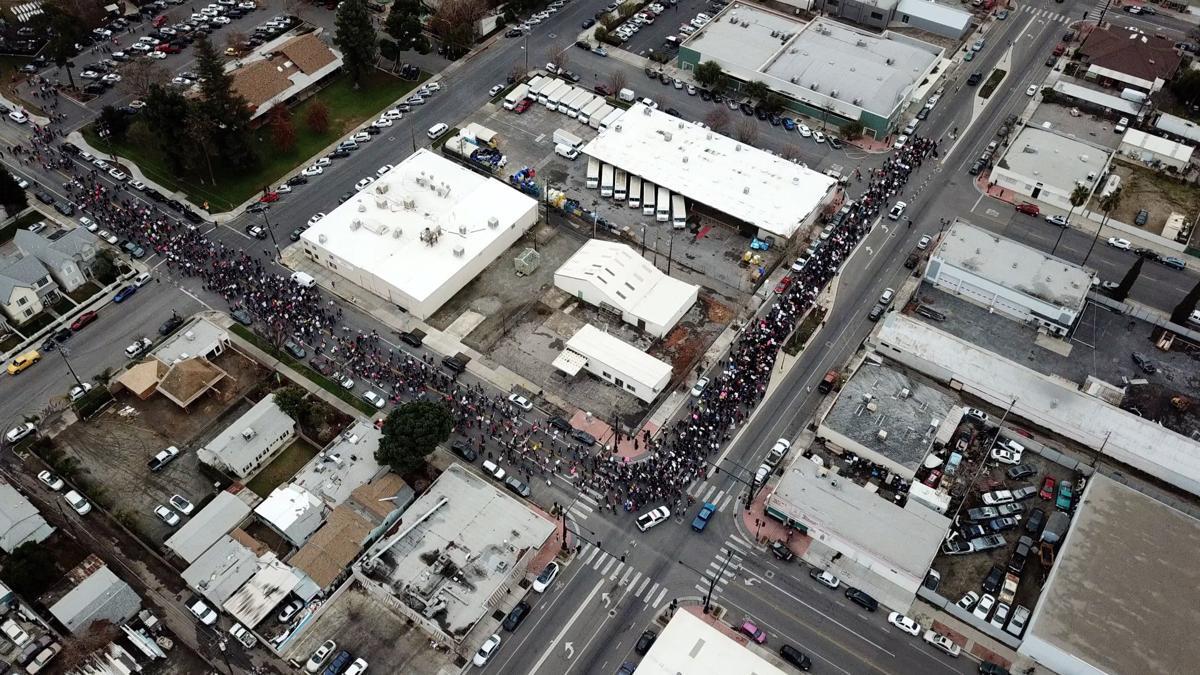 drone shot womans march