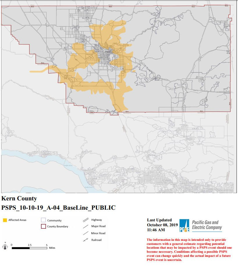 UPDATE: Around 4,600 Kern County PG&E customers could be ... on fpl grid map, con edison map, illinois gas utility map, wind energy distribution map, substation pse g map, electric utility service area map, pepco service map,