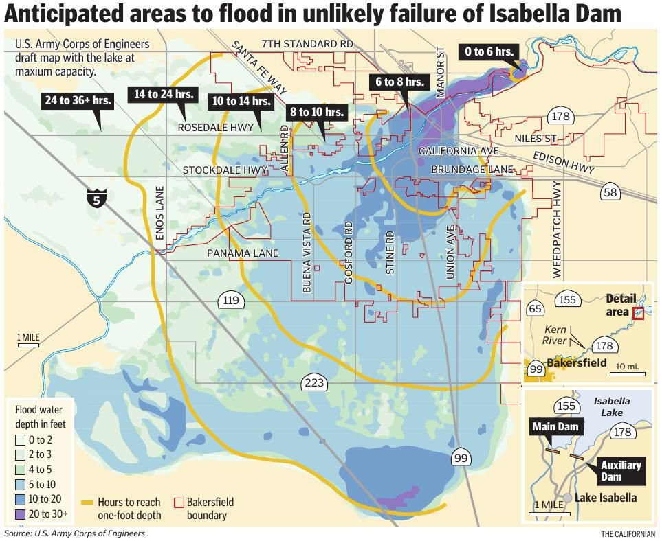 Anticipated areas to flood in unlikely failure of Isabella Dam
