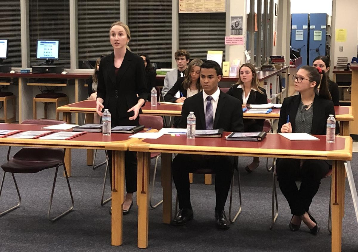 Centennial High Student Haley Sprague Speaks During A Mock Trial Scrimmage On Wednesday And Eight Other Students With The Team Will Be