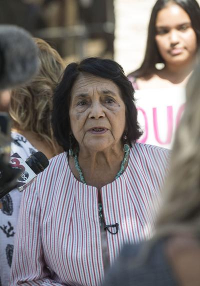 Civil rights leader Dolores Huerta among protestors
