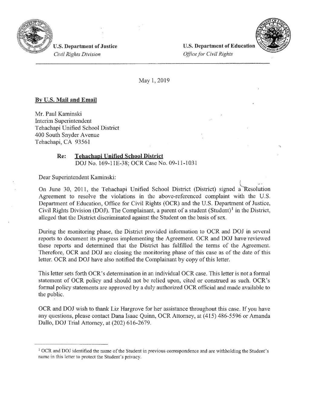 Federal agencies lift monitoring of Tehachapi Unified