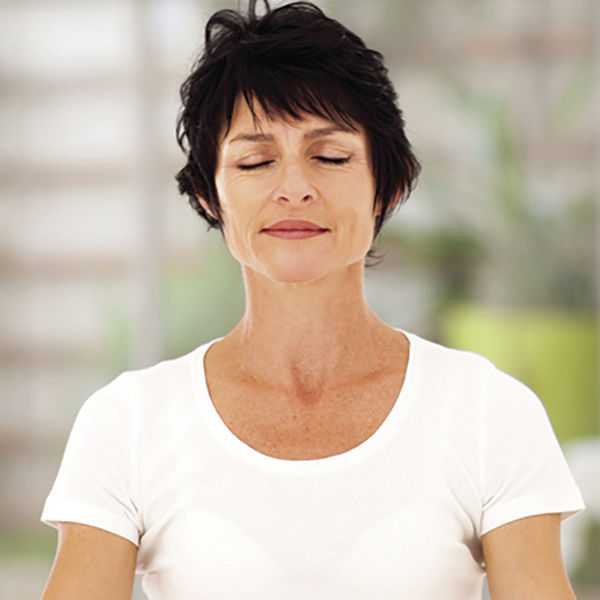 middle aged woman meditation