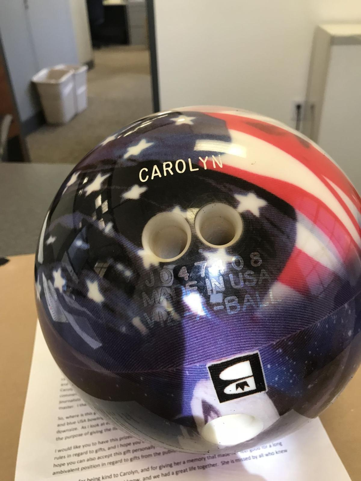 Carolyn Mack's patriotic bowling ball