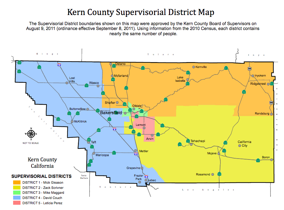 Kern County Map Kern County supervisors begin move into new districts | News