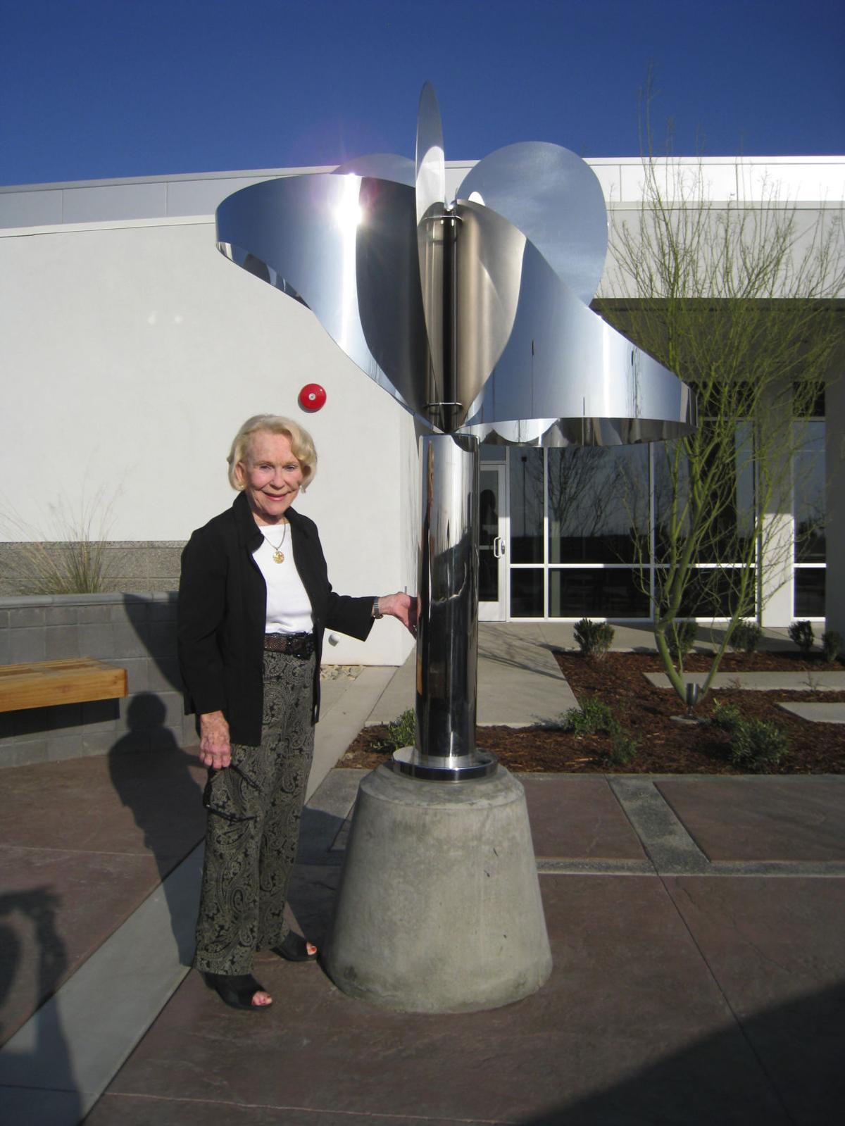 Betty Younger with sculpture