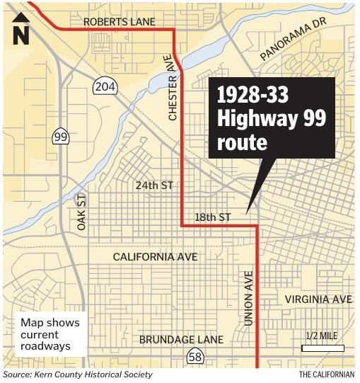 Map Of California Highway 99.1928 33 Hwy 99 Route Bakersfield Com