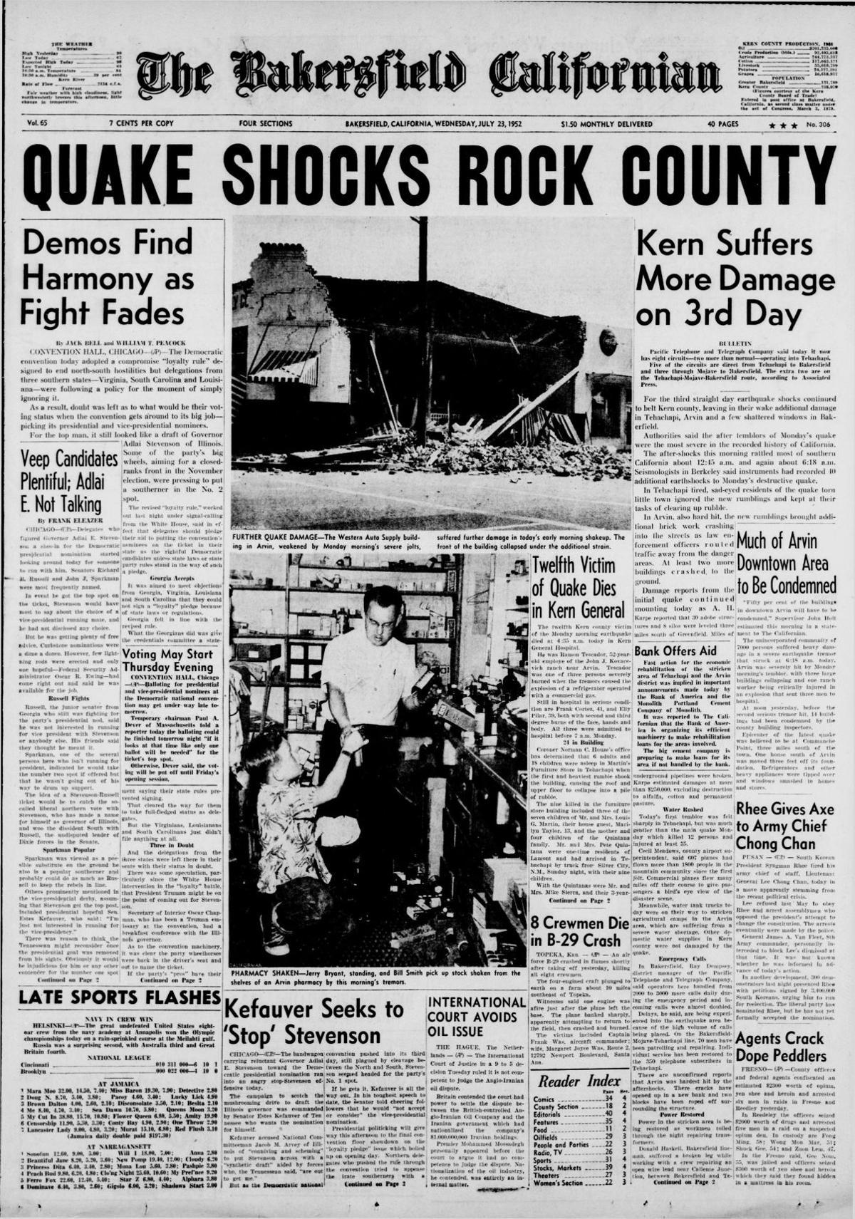 TBC front page: Quake Shocks Rock County