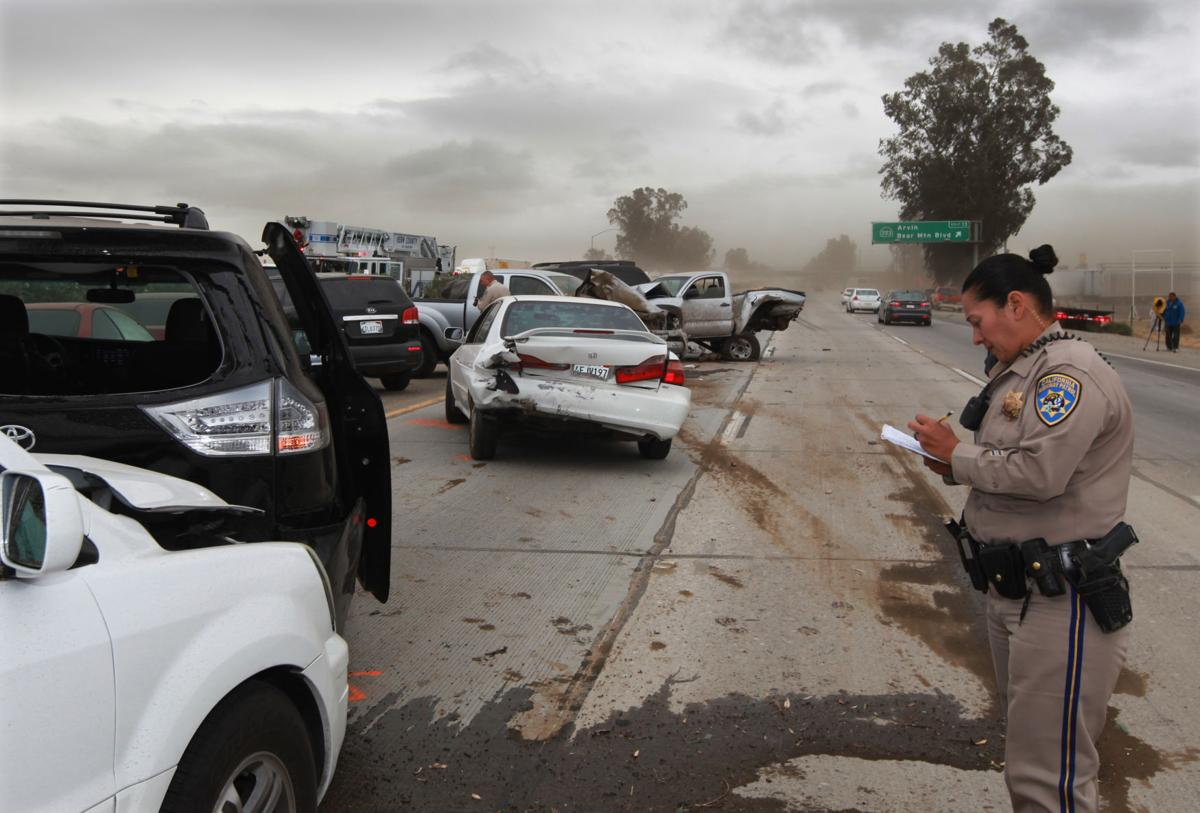 A Multi Vehicle Accident Slowed Traffic On Southbound Hwy 99 Just North Of The Bear Mt Blvd Exit Dust And Wind Contributed To Where Reports