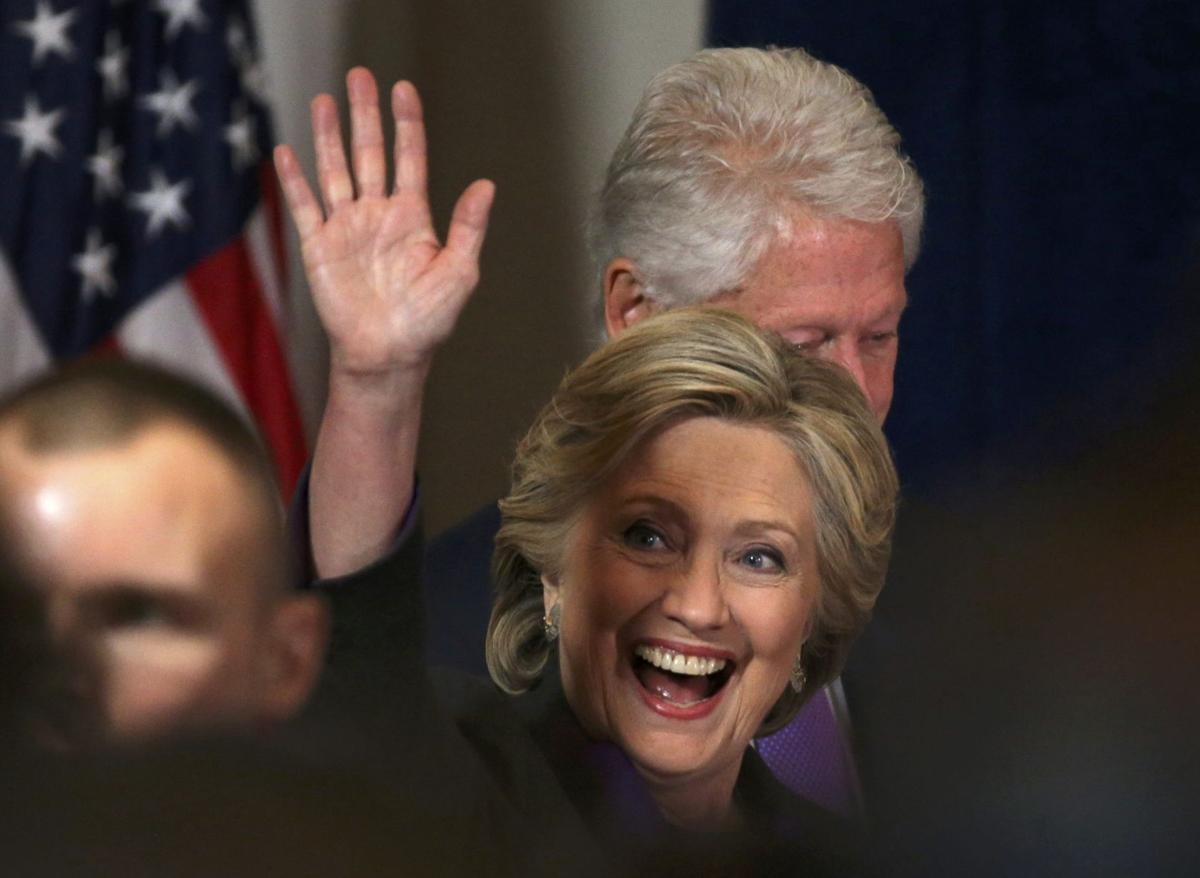 Democratic presidential candidate Hillary Clinton, and husband, former U.S. President Bill Clinton, arrive for  her concession speech in New York