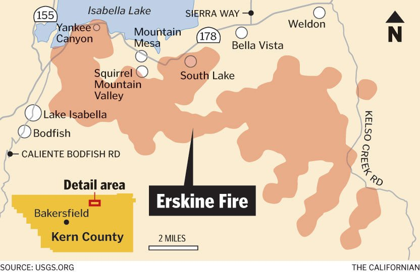 Lake Isabella Fire Map.Live Updates Erskine Fire June 24 2016 News Bakersfield Com